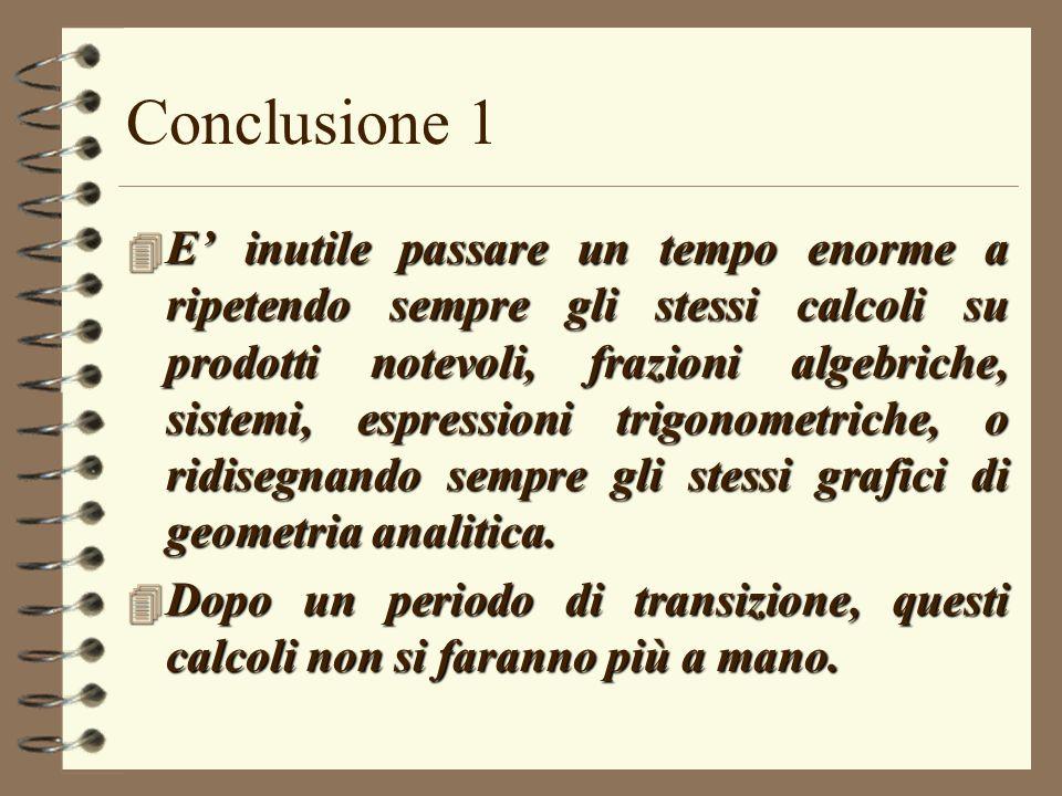 Conclusione 1 4 E inutile passare un tempo enorme a ripetendo sempre gli stessi calcoli su prodotti notevoli, frazioni algebriche, sistemi, espression