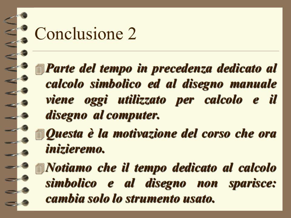 Conclusione 2 4 Parte del tempo in precedenza dedicato al calcolo simbolico ed al disegno manuale viene oggi utilizzato per calcolo e il disegno al co