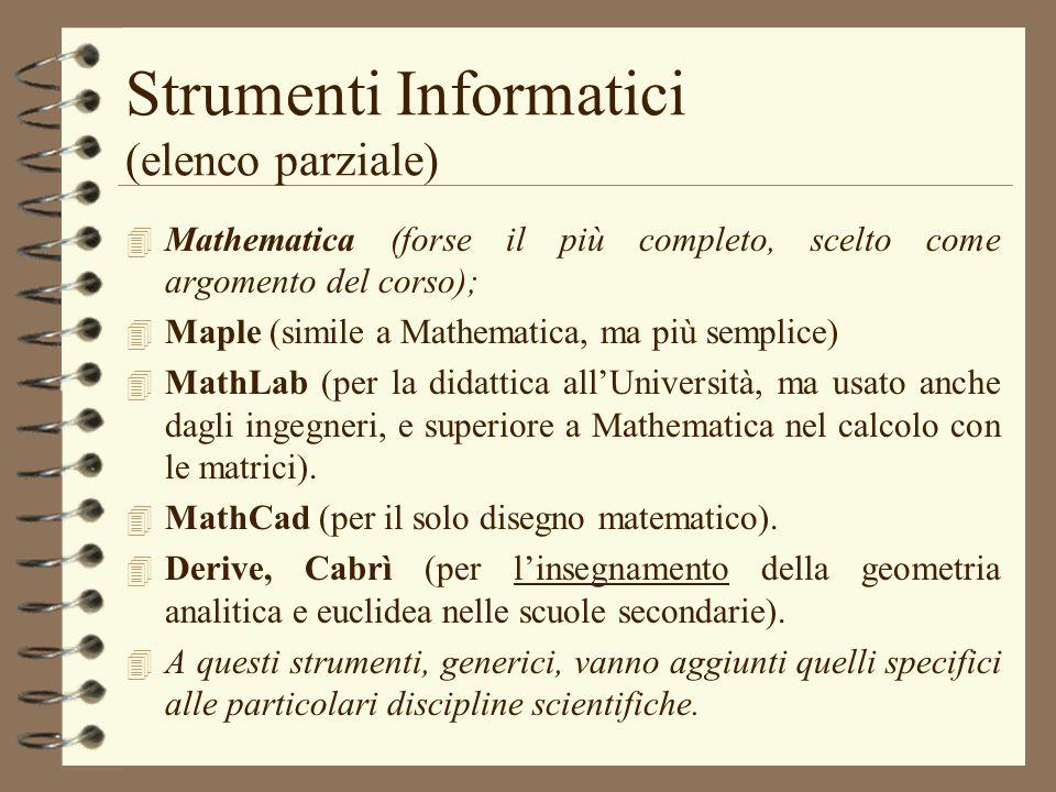 Strumenti Informatici (elenco parziale) 4 Mathematica (forse il più completo, scelto come argomento del corso); 4 Maple (simile a Mathematica, ma più