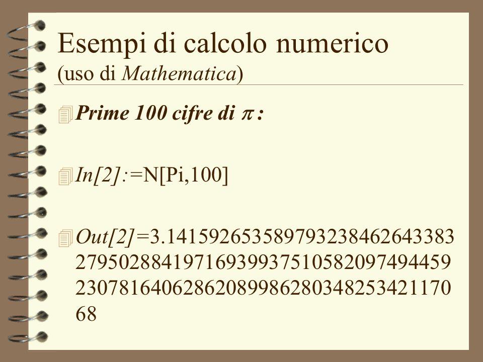 Esempi di calcolo numerico (uso di Mathematica) Prime 100 cifre di : 4 In[2]:=N[Pi,100] 4 Out[2]=3.141592653589793238462643383 27950288419716939937510