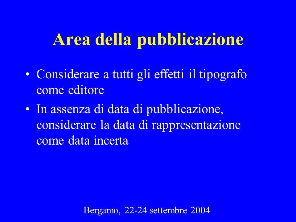 Bergamo, 22-24 settembre 2004 Area della pubblicazione Considerare a tutti gli effetti il tipografo come editore In assenza di data di pubblicazione,