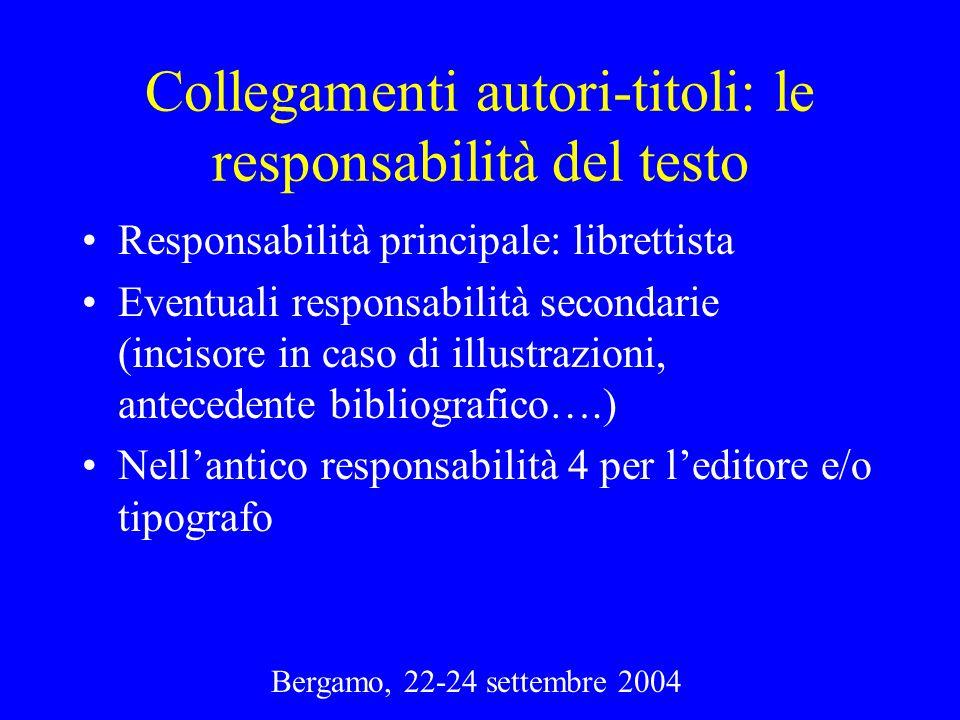 Bergamo, 22-24 settembre 2004 Collegamenti autori-titoli: le responsabilità del testo Responsabilità principale: librettista Eventuali responsabilità
