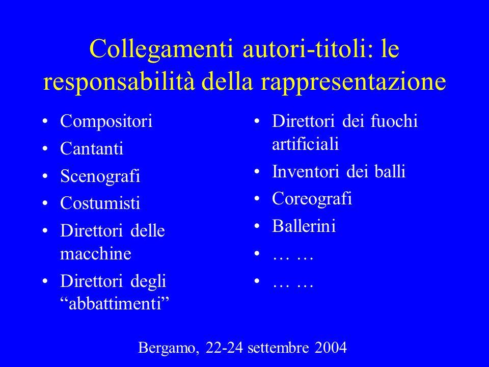 Bergamo, 22-24 settembre 2004 Collegamenti autori-titoli: le responsabilità della rappresentazione Compositori Cantanti Scenografi Costumisti Direttor
