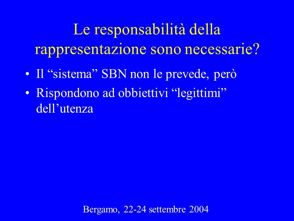 Bergamo, 22-24 settembre 2004 Le responsabilità della rappresentazione sono necessarie? Il sistema SBN non le prevede, però Rispondono ad obbiettivi l