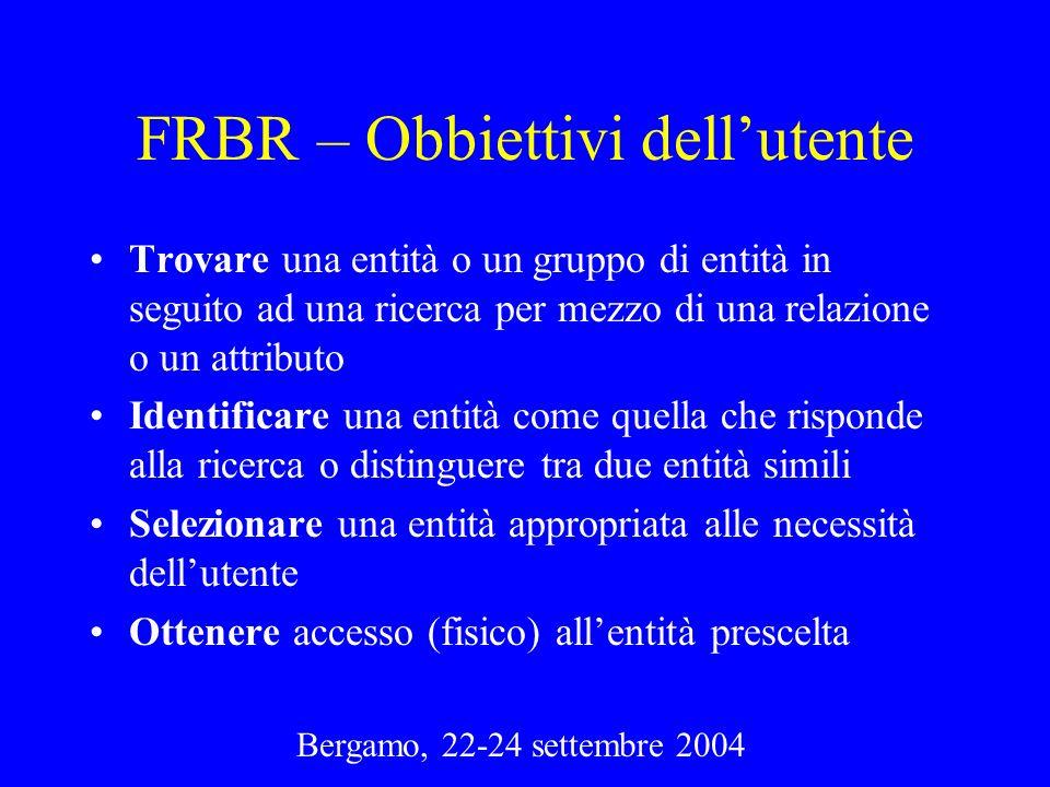 Bergamo, 22-24 settembre 2004 FRBR – Obbiettivi dellutente Trovare una entità o un gruppo di entità in seguito ad una ricerca per mezzo di una relazio