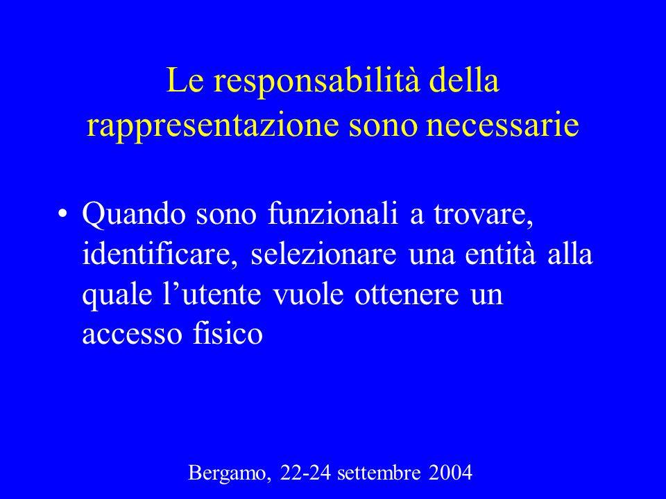 Bergamo, 22-24 settembre 2004 Le responsabilità della rappresentazione sono necessarie Quando sono funzionali a trovare, identificare, selezionare una