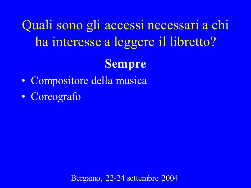 Bergamo, 22-24 settembre 2004 Quali sono gli accessi necessari a chi ha interesse a leggere il libretto? Sempre Compositore della musica Coreografo