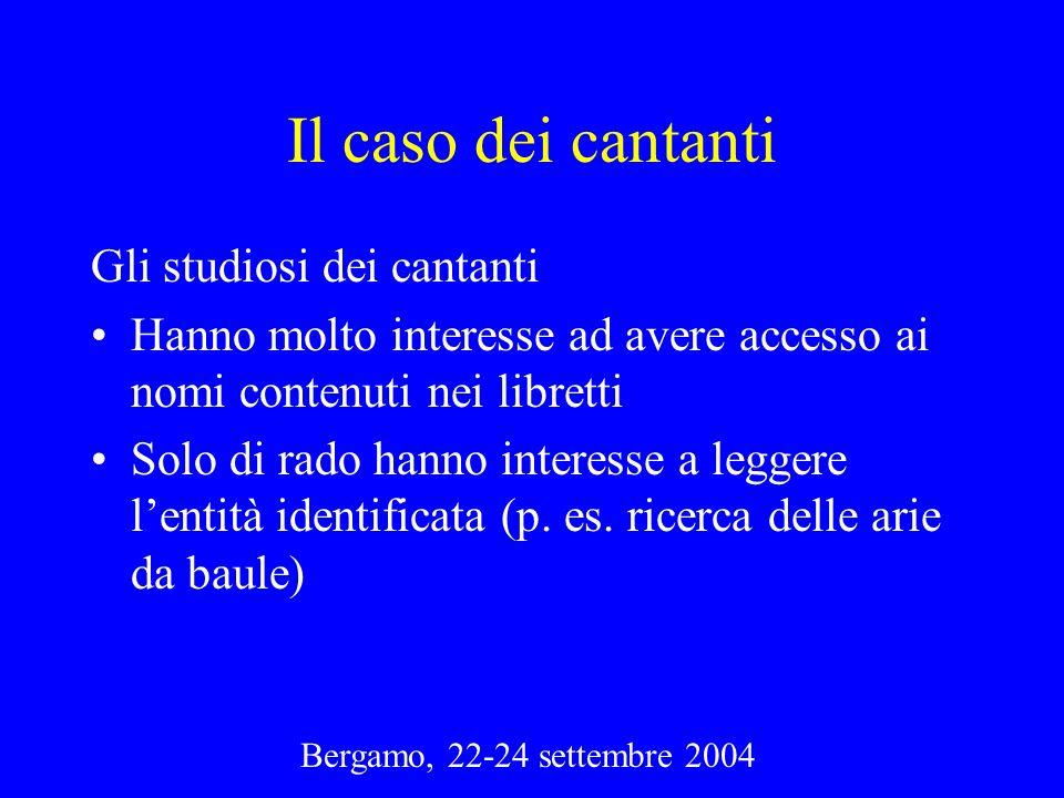 Bergamo, 22-24 settembre 2004 Il caso dei cantanti Gli studiosi dei cantanti Hanno molto interesse ad avere accesso ai nomi contenuti nei libretti Sol