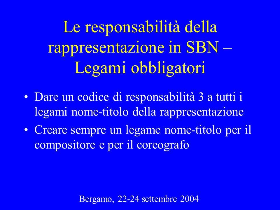 Bergamo, 22-24 settembre 2004 Le responsabilità della rappresentazione in SBN – Legami obbligatori Dare un codice di responsabilità 3 a tutti i legami