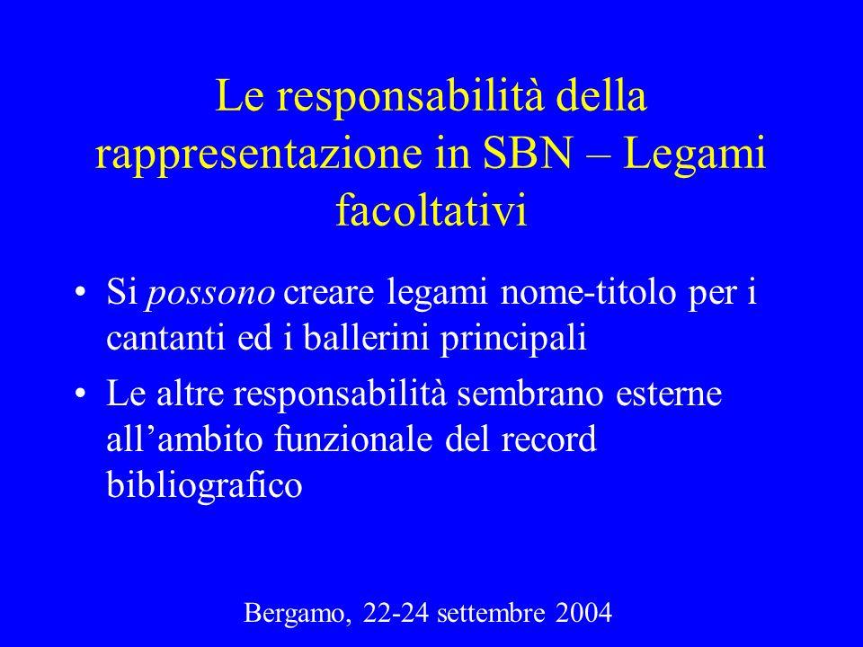Bergamo, 22-24 settembre 2004 Le responsabilità della rappresentazione in SBN – Legami facoltativi Si possono creare legami nome-titolo per i cantanti