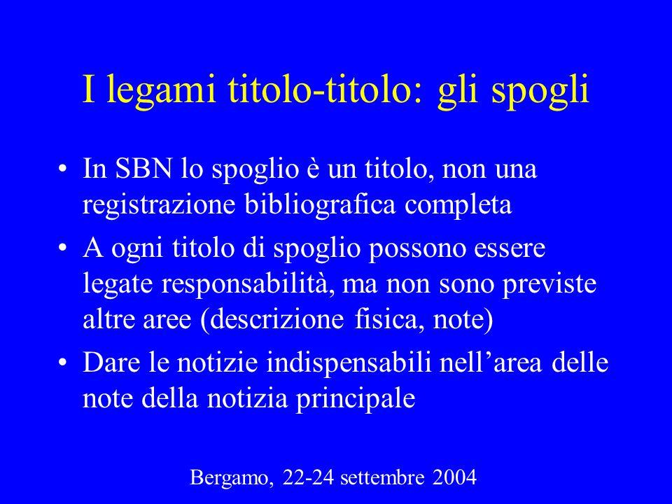 Bergamo, 22-24 settembre 2004 I legami titolo-titolo: gli spogli In SBN lo spoglio è un titolo, non una registrazione bibliografica completa A ogni ti