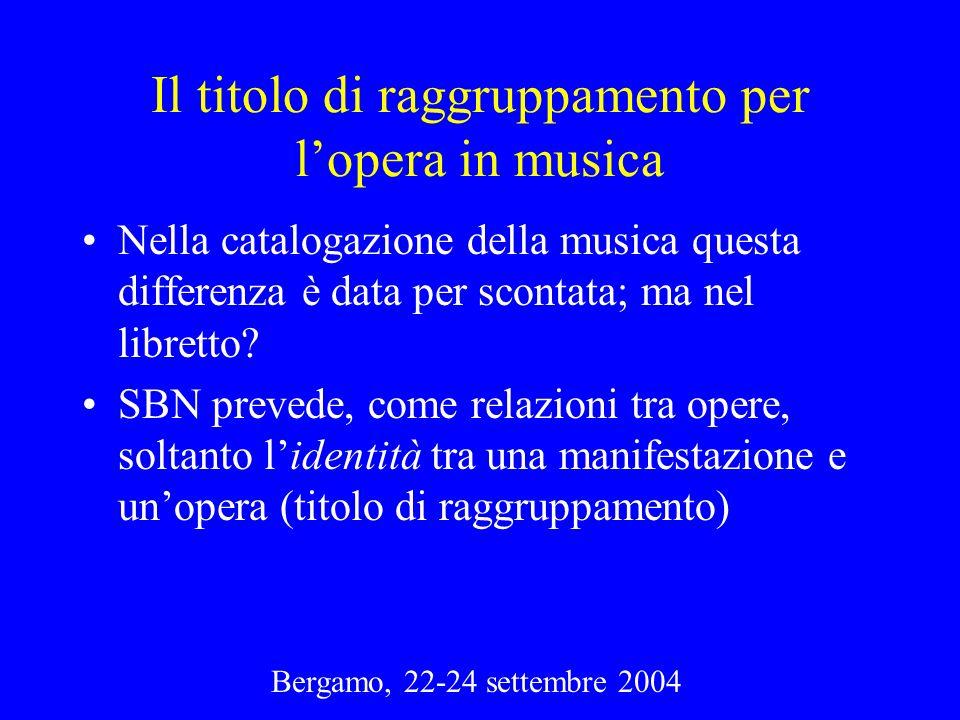 Il titolo di raggruppamento per lopera in musica Nella catalogazione della musica questa differenza è data per scontata; ma nel libretto? SBN prevede,