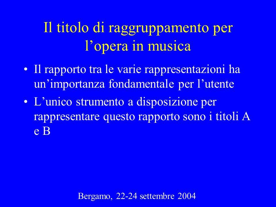 Bergamo, 22-24 settembre 2004 Il titolo di raggruppamento per lopera in musica Il rapporto tra le varie rappresentazioni ha unimportanza fondamentale