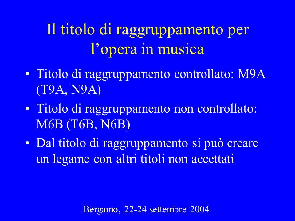 Bergamo, 22-24 settembre 2004 Il titolo di raggruppamento per lopera in musica Titolo di raggruppamento controllato: M9A (T9A, N9A) Titolo di raggrupp