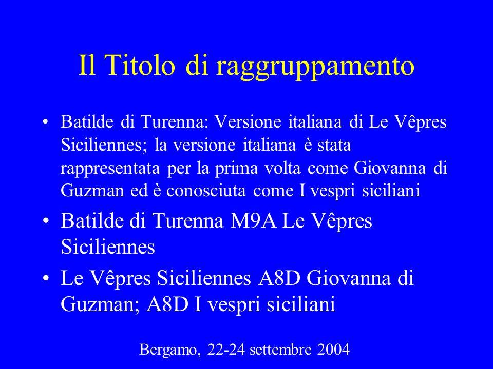 Bergamo, 22-24 settembre 2004 Il Titolo di raggruppamento Batilde di Turenna: Versione italiana di Le Vêpres Siciliennes; la versione italiana è stata