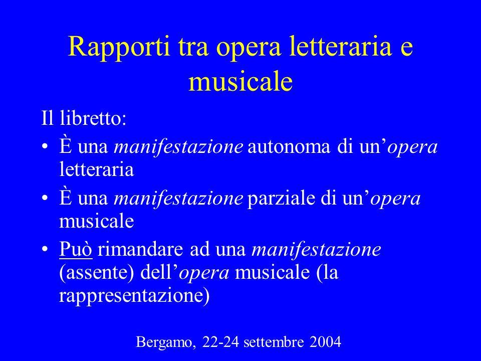 Bergamo, 22-24 settembre 2004 Rapporti tra opera letteraria e musicale Il libretto: È una manifestazione autonoma di unopera letteraria È una manifest