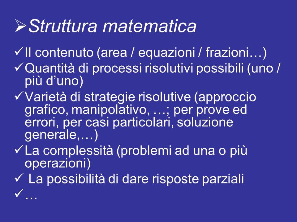 Il contenuto (area / equazioni / frazioni…) Quantità di processi risolutivi possibili (uno / più duno) Varietà di strategie risolutive (approccio graf