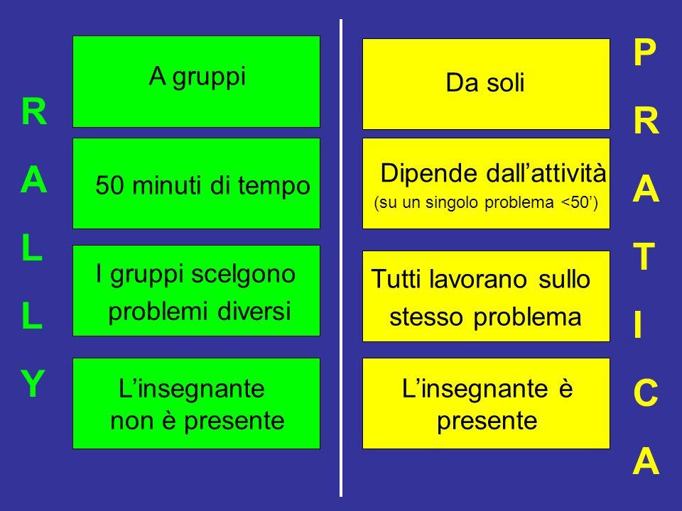 I gruppi scelgono problemi diversi Tutti lavorano sullo stesso problema 50 minuti di tempo A gruppi RALLYRALLY Da soli Dipende dallattività (su un sin