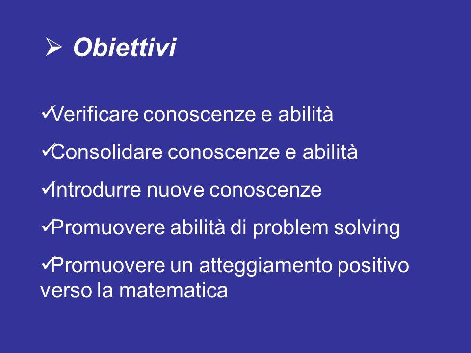 Obiettivi Verificare conoscenze e abilità Consolidare conoscenze e abilità Introdurre nuove conoscenze Promuovere abilità di problem solving Promuover