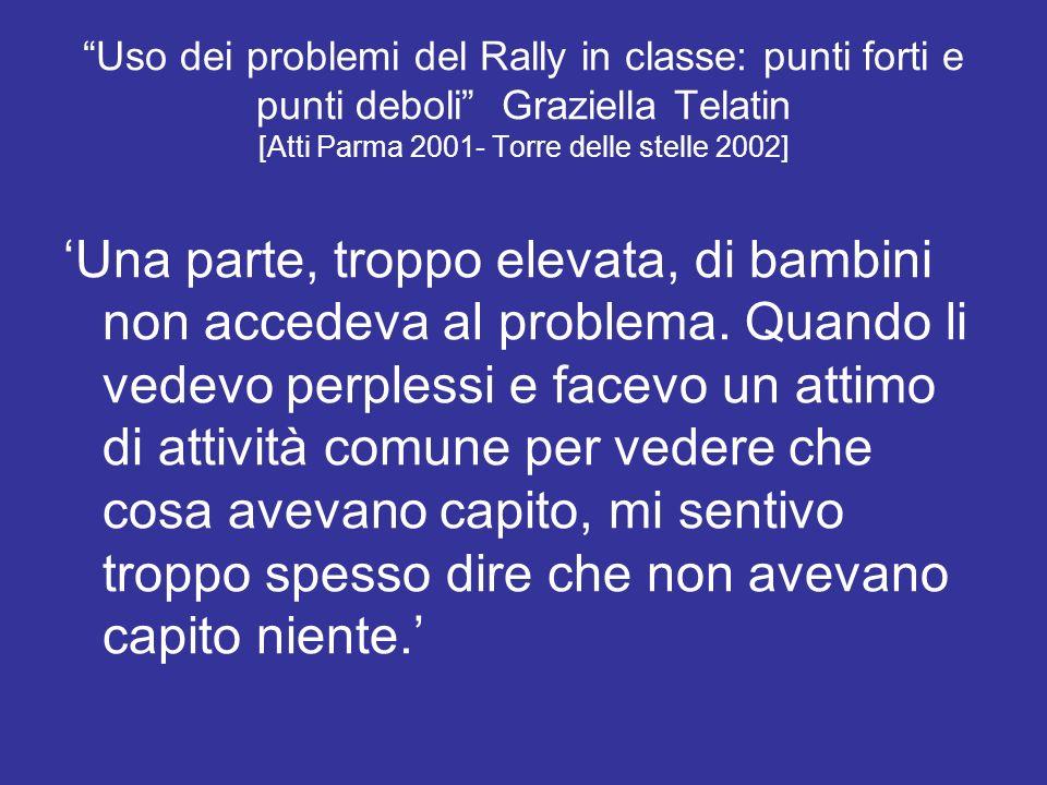 Uso dei problemi del Rally in classe: punti forti e punti deboli Graziella Telatin [Atti Parma 2001- Torre delle stelle 2002] Una parte, troppo elevat