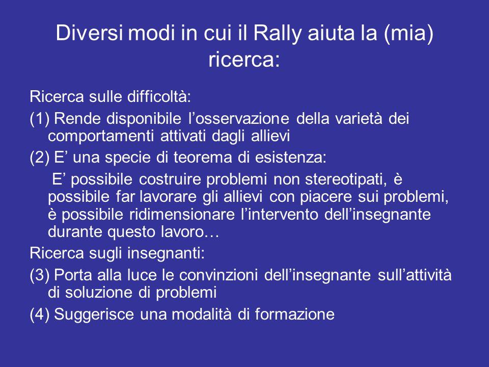 Diversi modi in cui il Rally aiuta la (mia) ricerca: Ricerca sulle difficoltà: (1) Rende disponibile losservazione della varietà dei comportamenti att