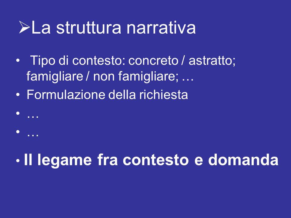 La struttura narrativa Tipo di contesto: concreto / astratto; famigliare / non famigliare; … Formulazione della richiesta … … Il legame fra contesto e