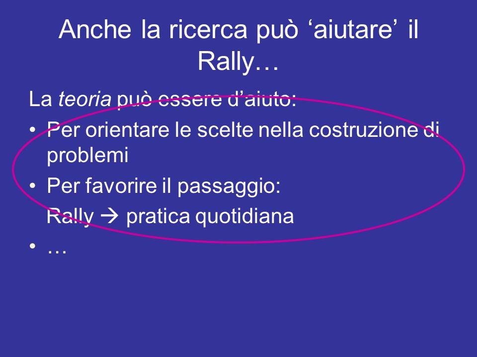 Anche la ricerca può aiutare il Rally… La teoria può essere daiuto: Per orientare le scelte nella costruzione di problemi Per favorire il passaggio: R