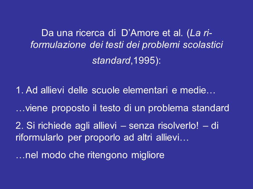 Da una ricerca di DAmore et al. (La ri- formulazione dei testi dei problemi scolastici standard,1995): 1. Ad allievi delle scuole elementari e medie…
