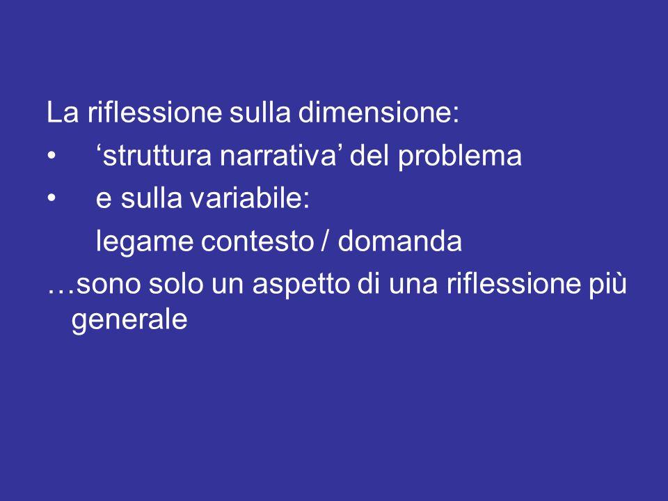 La riflessione sulla dimensione: struttura narrativa del problema e sulla variabile: legame contesto / domanda …sono solo un aspetto di una riflession