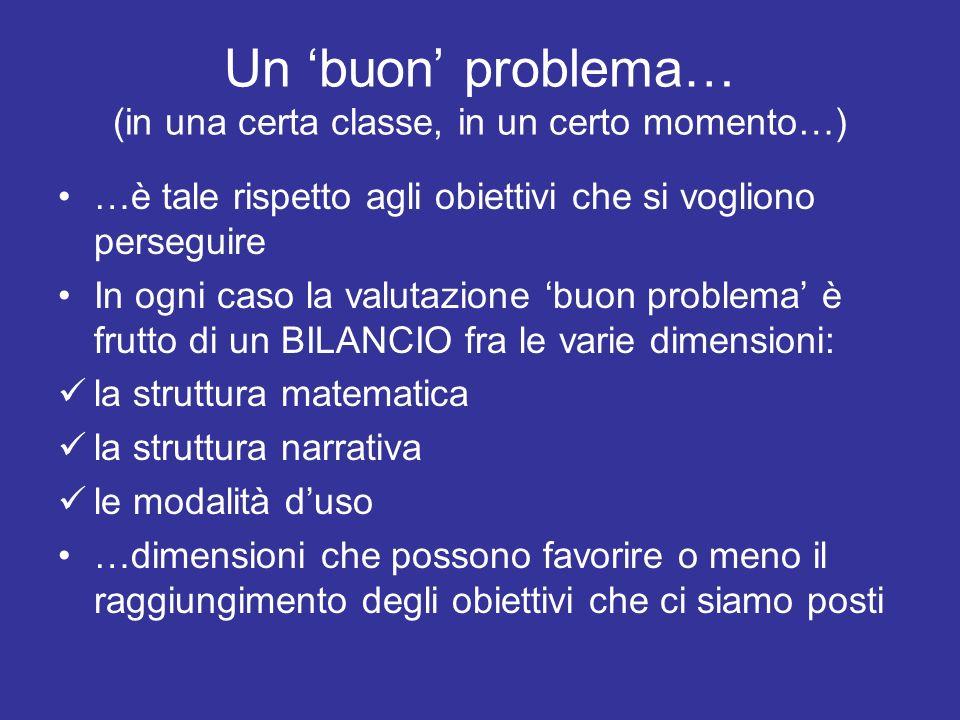 Un buon problema… (in una certa classe, in un certo momento…) …è tale rispetto agli obiettivi che si vogliono perseguire In ogni caso la valutazione b