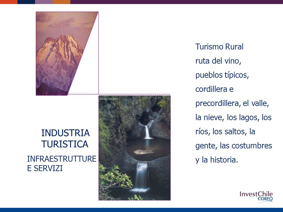 Turismo Rural ruta del vino, pueblos típicos, cordillera e precordillera, el valle, la nieve, los lagos, los ríos, los saltos, la gente, las costumbres y la historia.