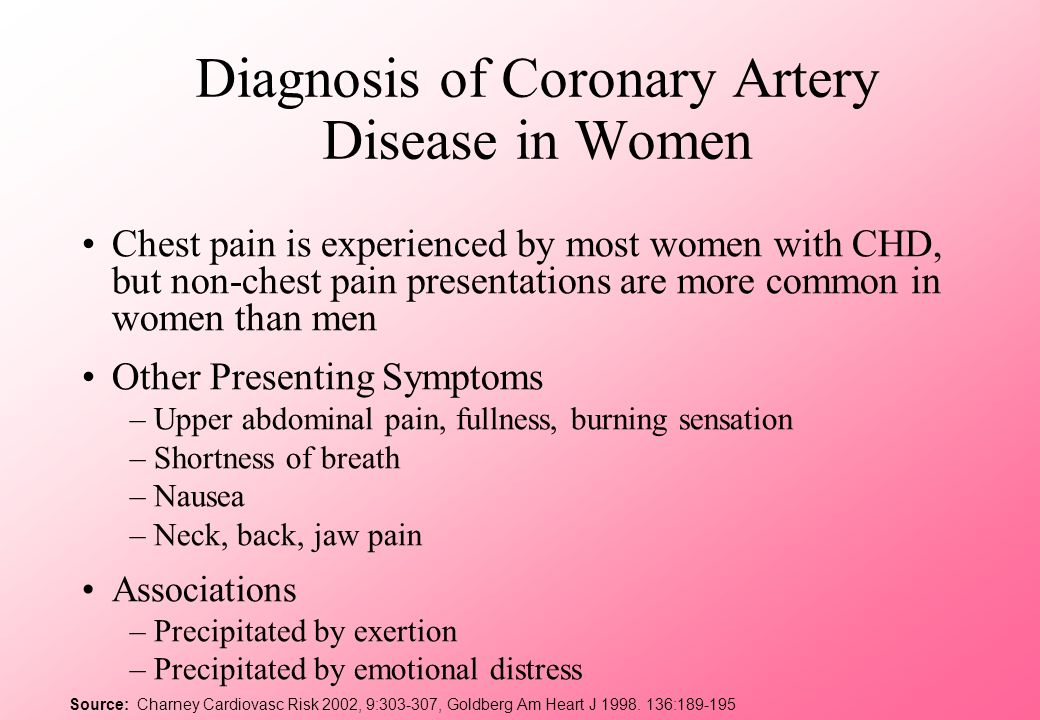 Diagnosis of Coronary Artery Disease in Women Chest pain is experienced by most women with CHD, but non-chest pain presentations are more common in wo