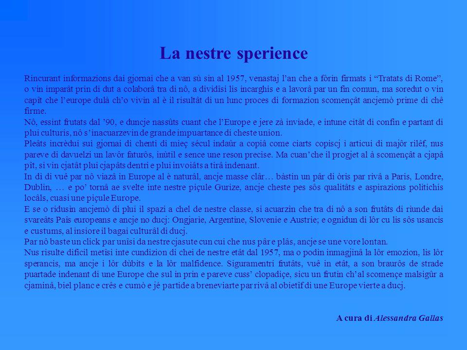 La nostra esperienza Raccogliendo informazioni dai giornali risalenti al 1957, ovvero lanno in cui furono firmati i Trattati di Roma, abbiamo imparato