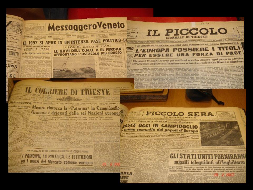 Testate analizzate Il Piccolo - giornale di Trieste 01.01.57 - 23.02.57 Il Piccolo 02.03.57 – 26.03.57 Il Piccolo Sera 01.01.57 - 31.03.57 Il Messagge