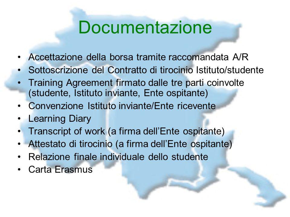 Documentazione Accettazione della borsa tramite raccomandata A/R Sottoscrizione del Contratto di tirocinio Istituto/studente Training Agreement firmat