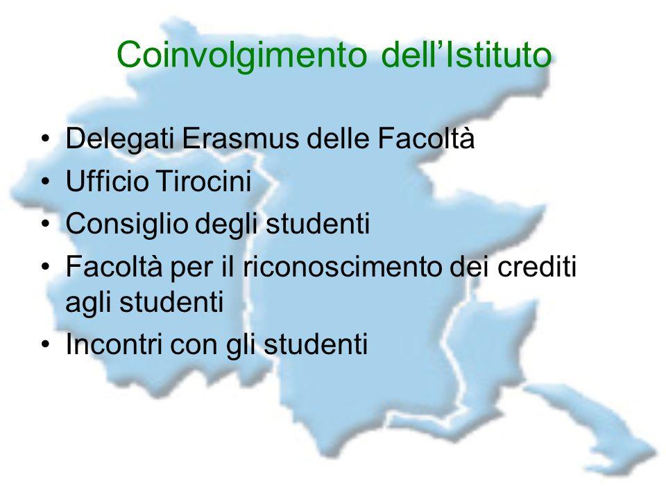 Coinvolgimento dellIstituto Delegati Erasmus delle Facoltà Ufficio Tirocini Consiglio degli studenti Facoltà per il riconoscimento dei crediti agli st