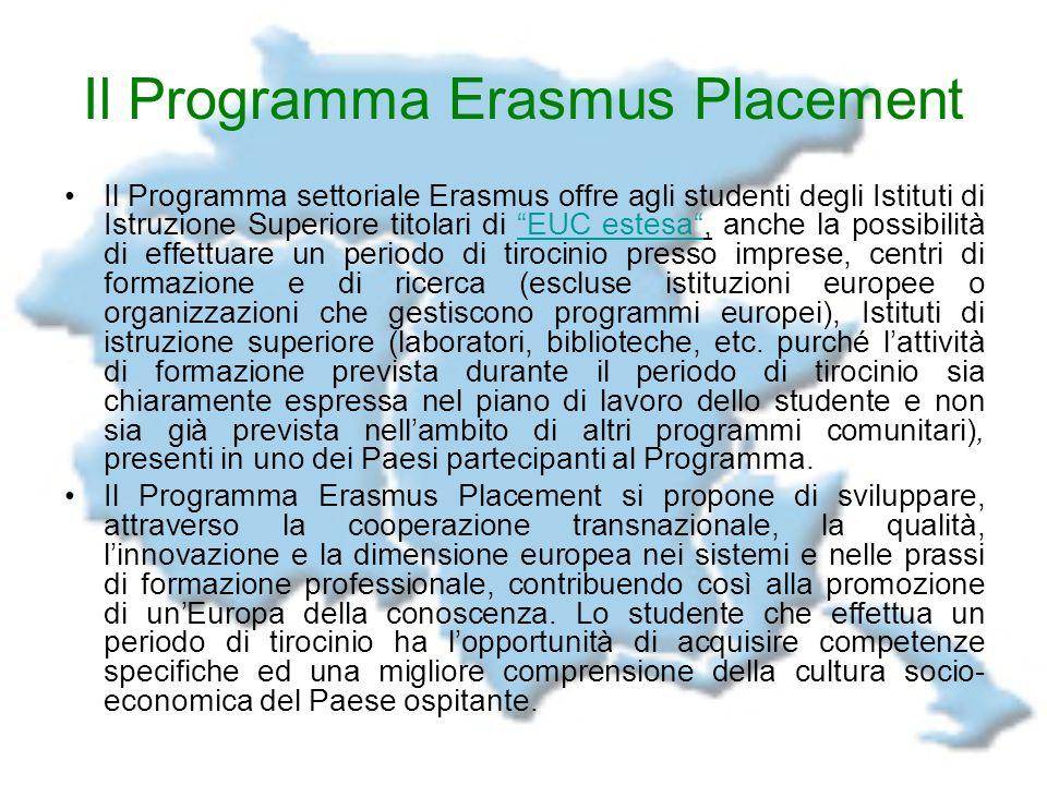 Il Programma Erasmus Placement Il Programma settoriale Erasmus offre agli studenti degli Istituti di Istruzione Superiore titolari di EUC estesa, anch