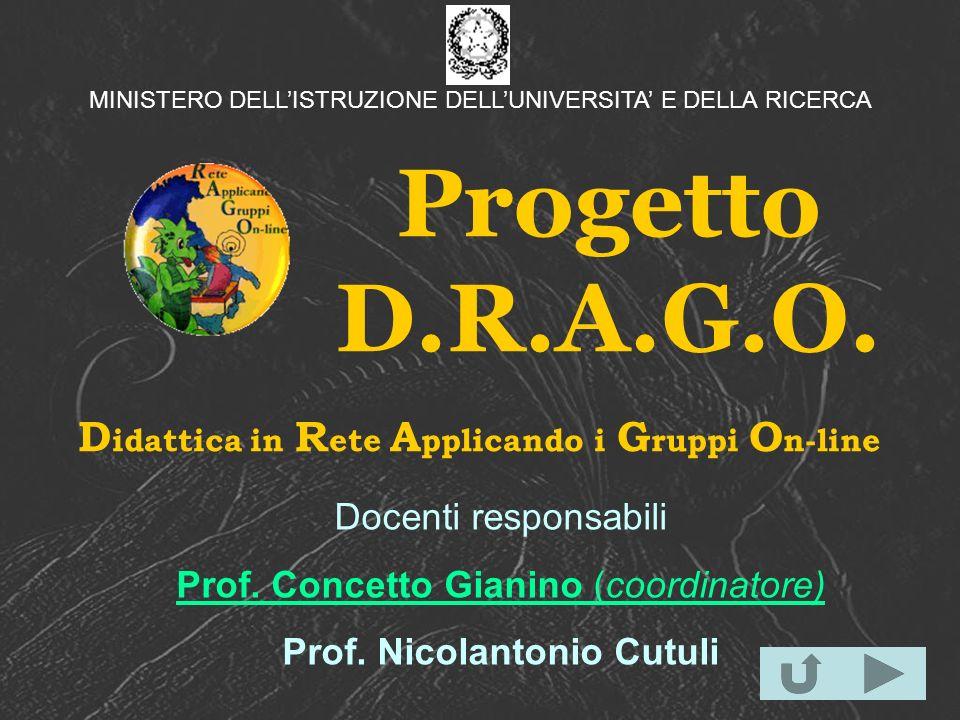 Progetto D.R.A.G.O. D idattica in R ete A pplicando i G ruppi O n-line Docenti responsabili Prof. Concetto Gianino (coordinatore) Prof. Nicolantonio C
