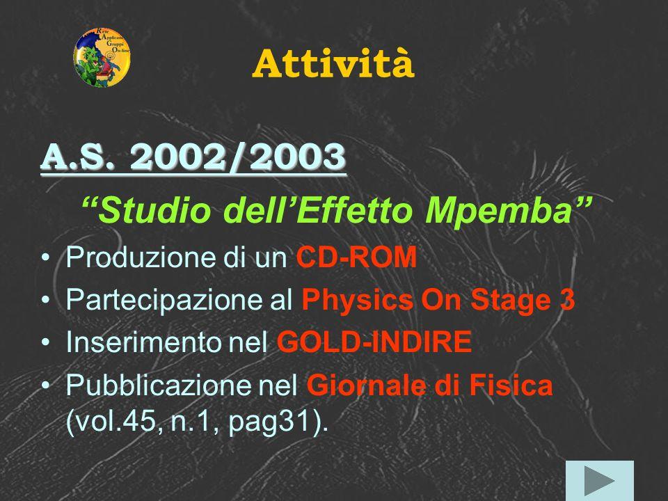 Attività A.S. 2002/2003 Studio dellEffetto Mpemba Produzione di un CD-ROM Partecipazione al Physics On Stage 3 Inserimento nel GOLD-INDIRE Pubblicazio