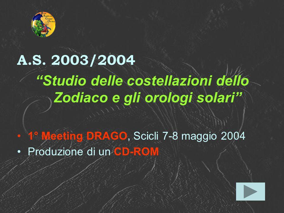 A.S. 2003/2004 Studio delle costellazioni dello Zodiaco e gli orologi solari 1° Meeting DRAGO, Scicli 7-8 maggio 2004 Produzione di un CD-ROM