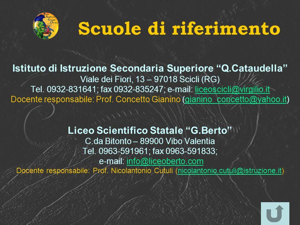 Scuole di riferimento Istituto di Istruzione Secondaria Superiore Q.Cataudella Viale dei Fiori, 13 – 97018 Scicli (RG) Tel. 0932-831641; fax 0932-8352