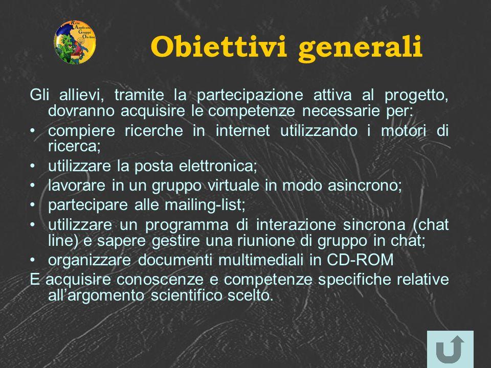 Obiettivi generali Gli allievi, tramite la partecipazione attiva al progetto, dovranno acquisire le competenze necessarie per: compiere ricerche in in