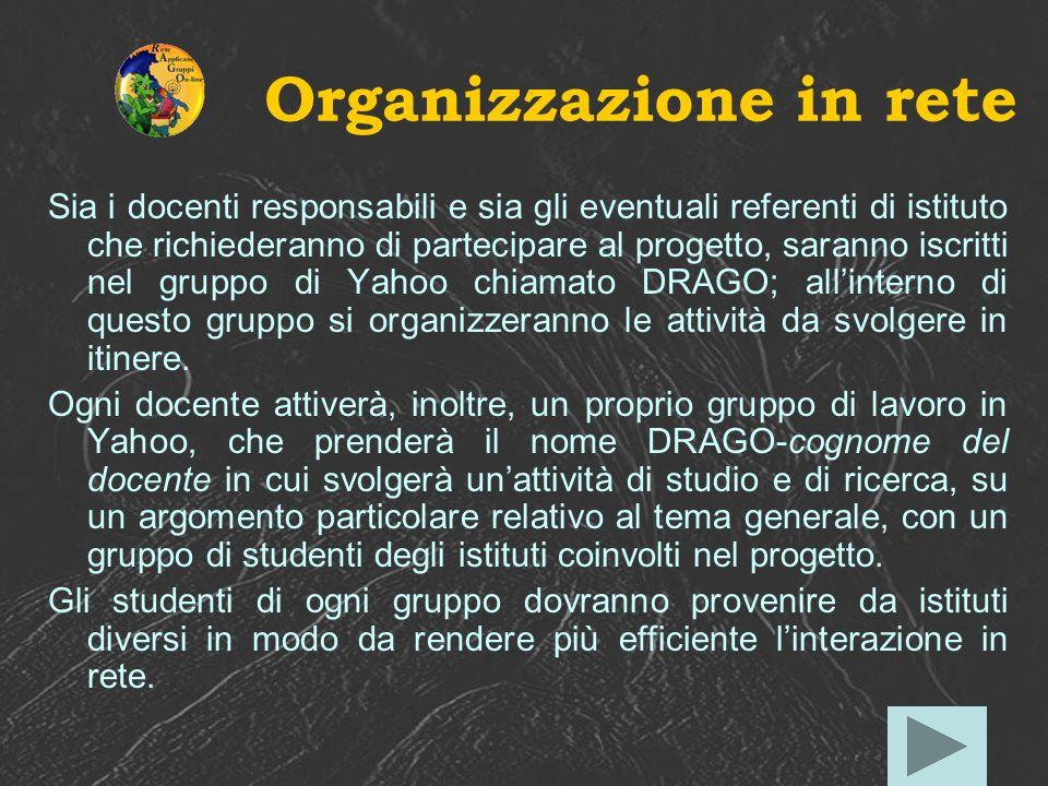 Organizzazione in rete Sia i docenti responsabili e sia gli eventuali referenti di istituto che richiederanno di partecipare al progetto, saranno iscr