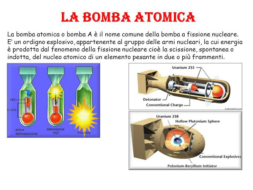 LA BOMBA ATOMICA La bomba atomica o bomba A è il nome comune della bomba a fissione nucleare. E un ordigno esplosivo, appartenente al gruppo delle arm
