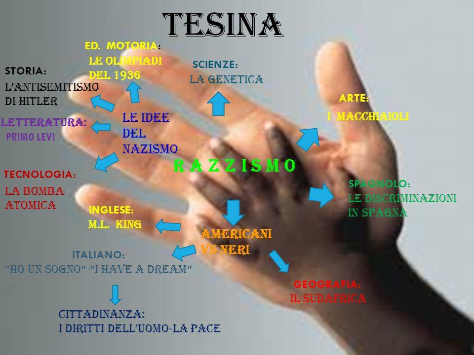 TESINA R A Z Z I S M O SCIENZE: LA GENETICA STORIA: LANTISEMITISMO DI HITLER INGLESE: M.L. KING LETTERATURA: ITALIANO: HO UN SOGNO-I HAVE A DREAM GEOG