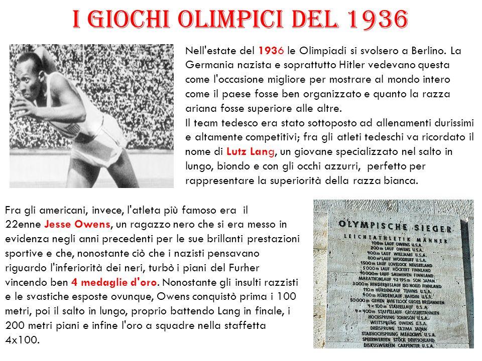 Nell'estate del 1936 le Olimpiadi si svolsero a Berlino. La Germania nazista e soprattutto Hitler vedevano questa come l'occasione migliore per mostra