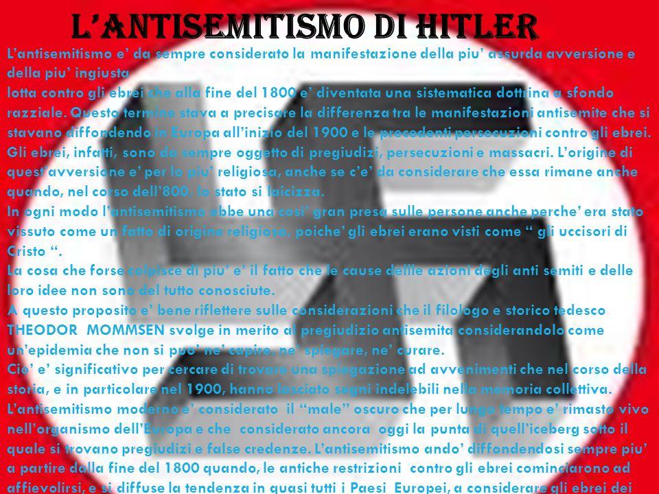 Lantisemitismo di hitler Lantisemitismo e da sempre considerato la manifestazione della piu assurda avversione e della piu ingiusta lotta contro gli e