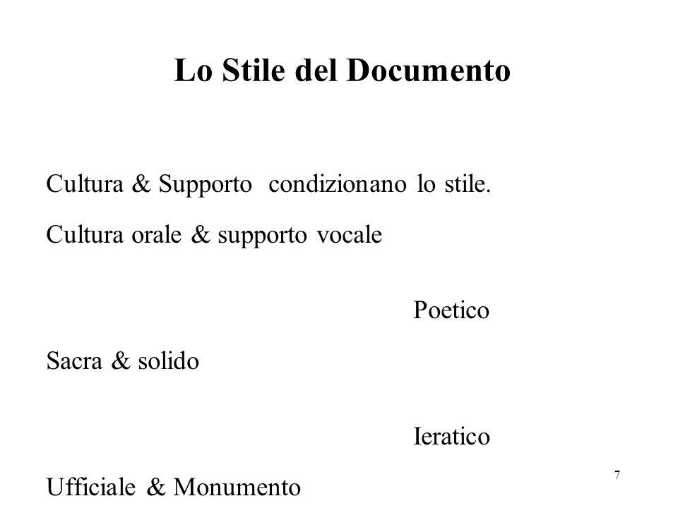 7 Lo Stile del Documento Cultura & Supporto condizionano lo stile.