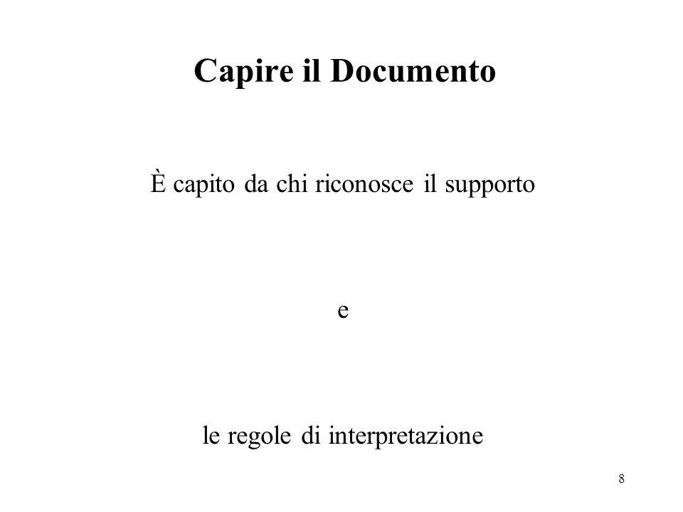 8 Capire il Documento È capito da chi riconosce il supporto e le regole di interpretazione