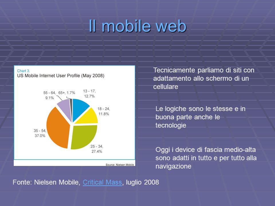 Il mobile web Fonte: Nielsen Mobile, Critical Mass, luglio 2008Critical Mass Tecnicamente parliamo di siti con adattamento allo schermo di un cellulare Le logiche sono le stesse e in buona parte anche le tecnologie Oggi i device di fascia medio-alta sono adatti in tutto e per tutto alla navigazione